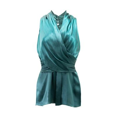 satin draped V neck top olive